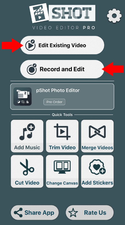 Trim or Cut menu for existing and recorded videos in zShot/