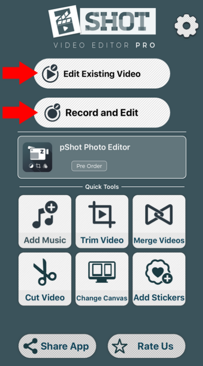 zShot main interface with edit existing video and record and edit button.