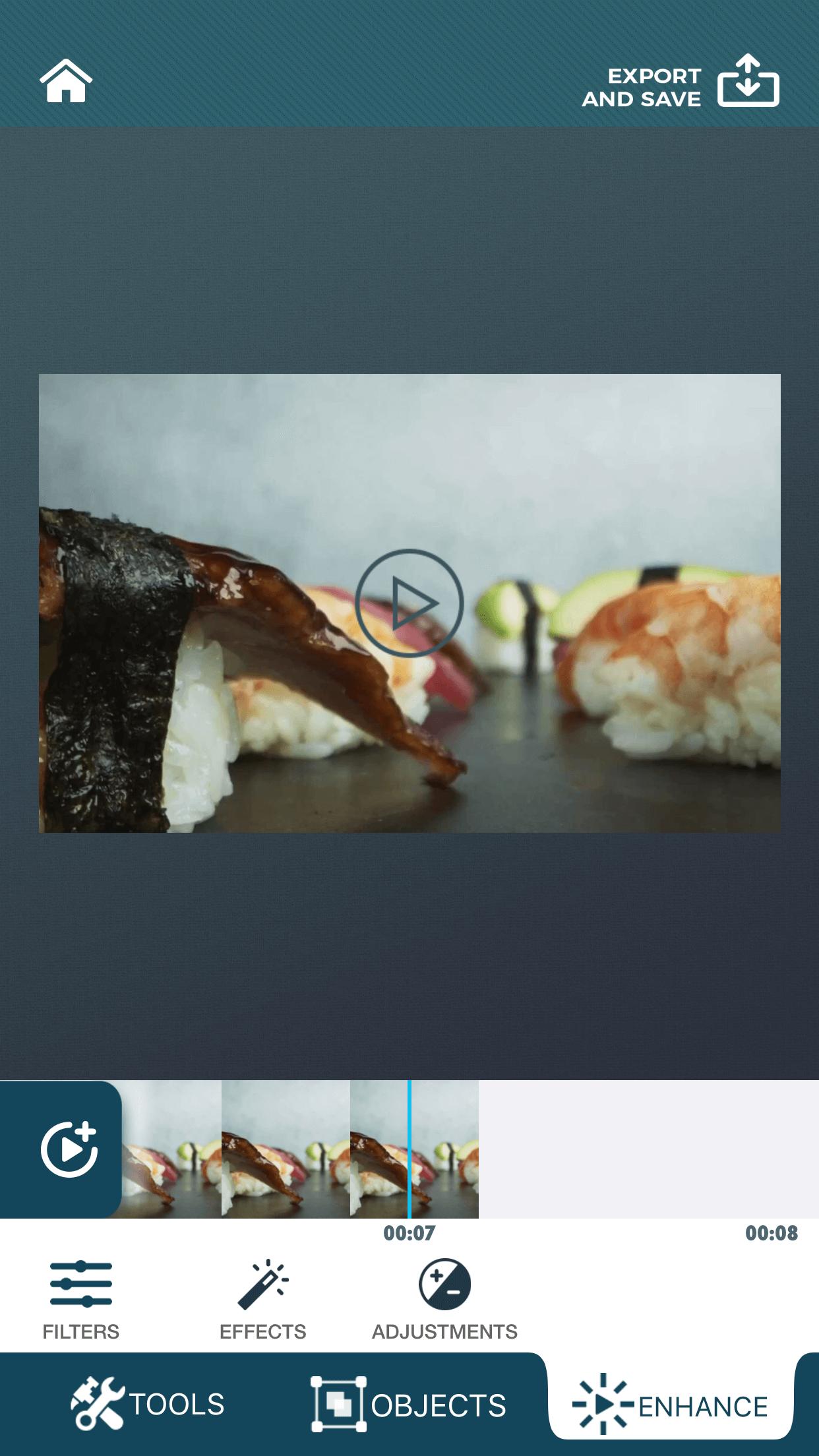 Adjustments tool of zShot app.