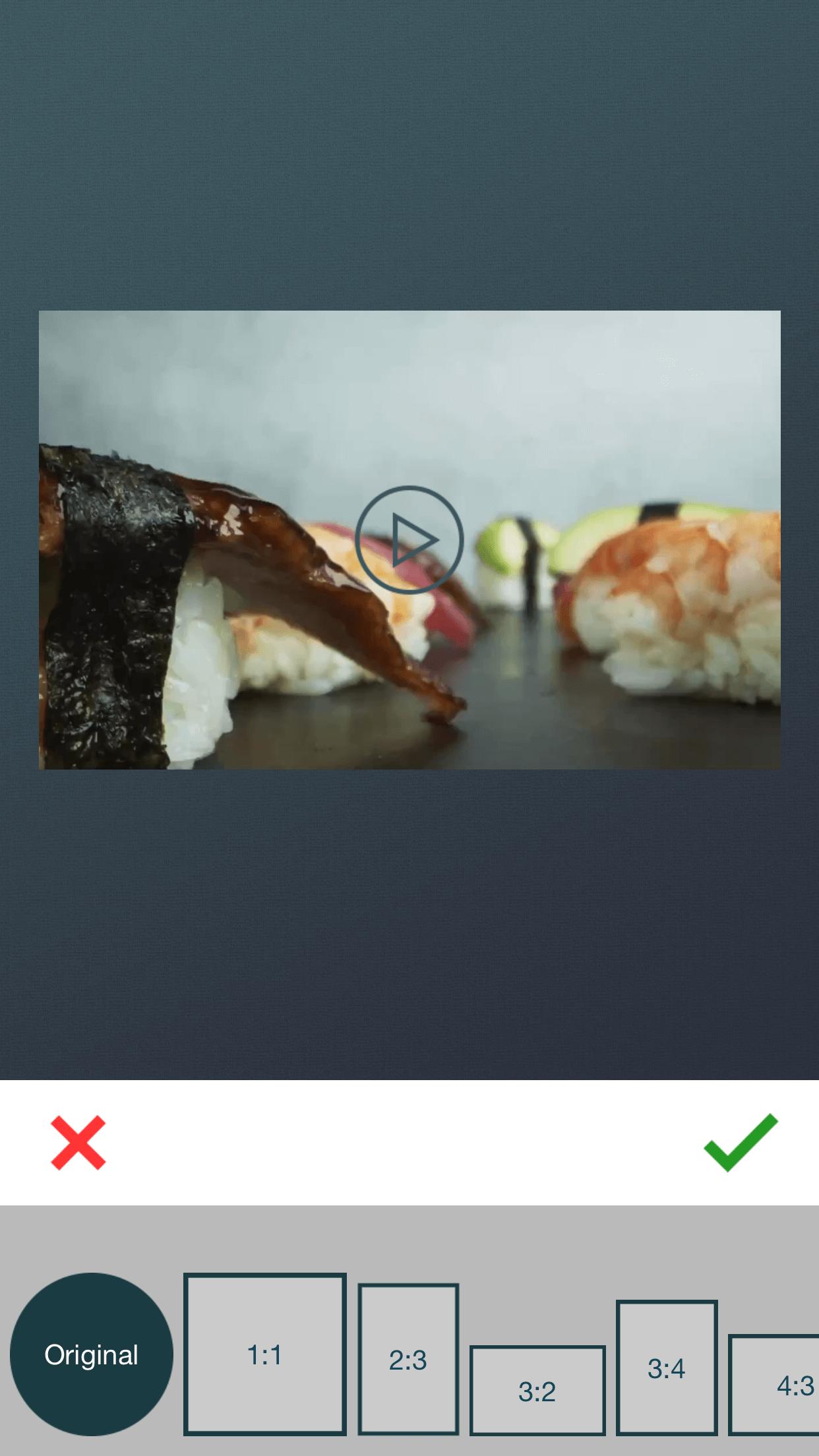 Different canvas ratios of zshot app.