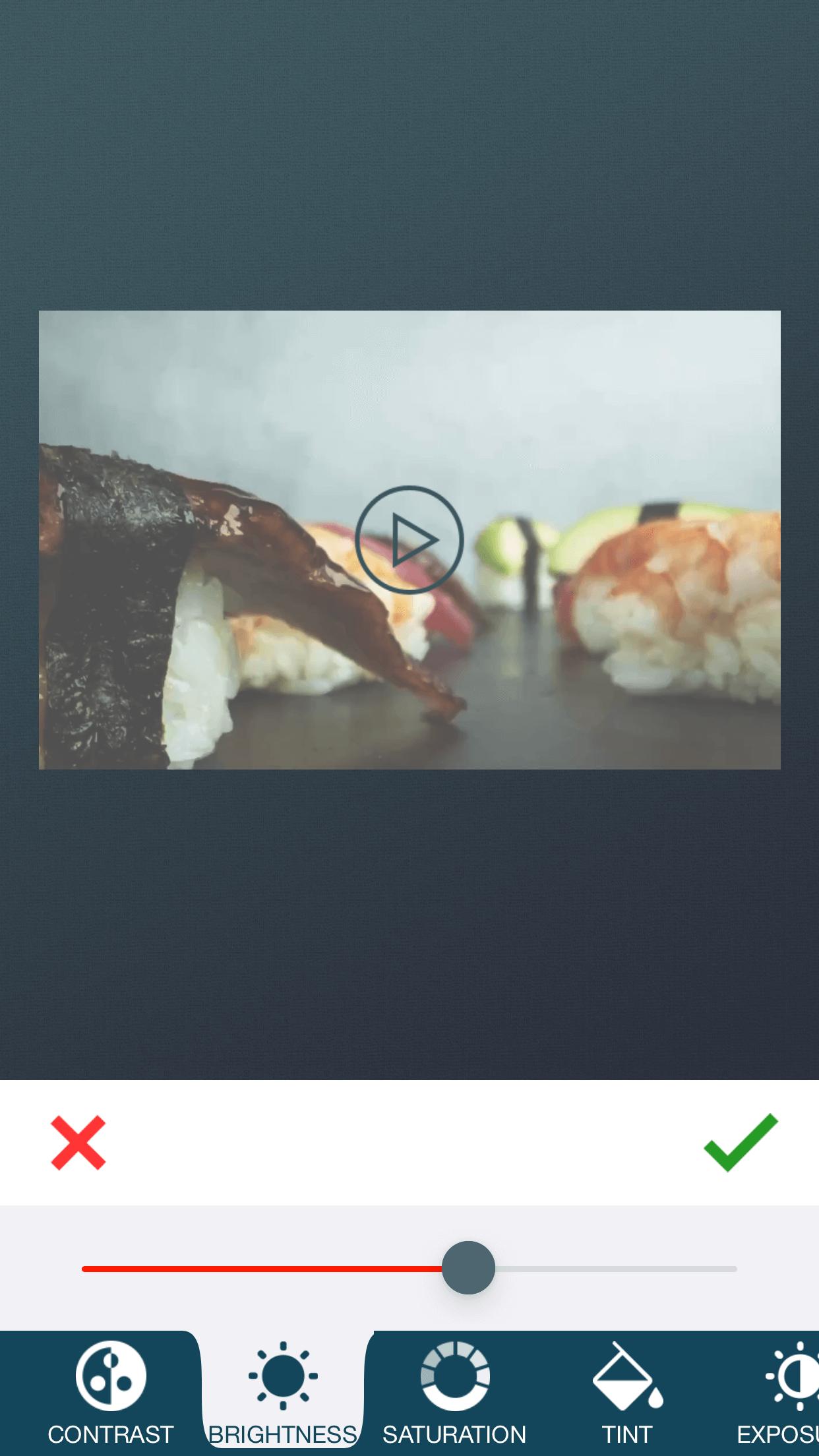 Adjust Brightness of video with zShot app.