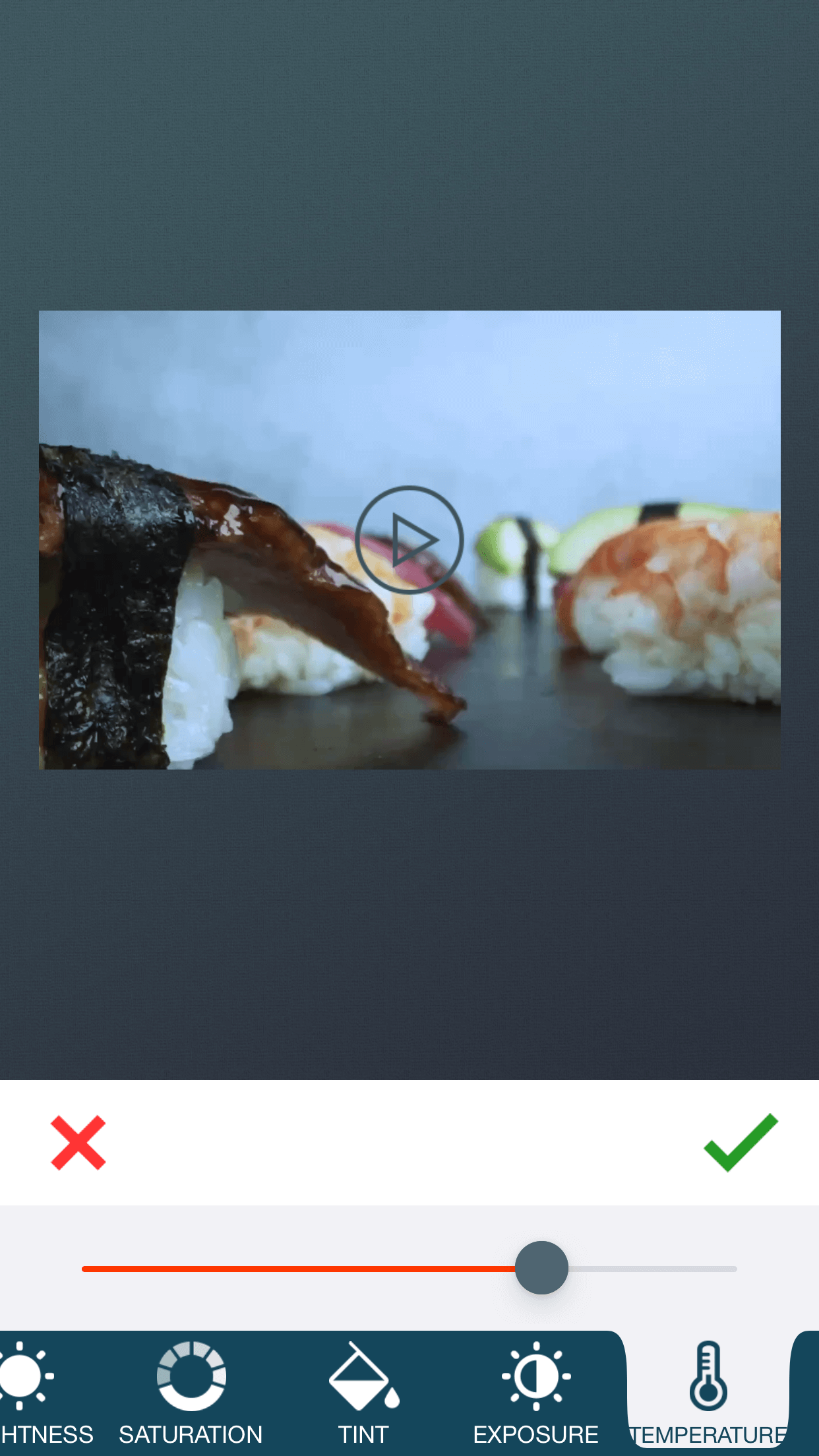 Adjust Temperature of a video with zShot app.