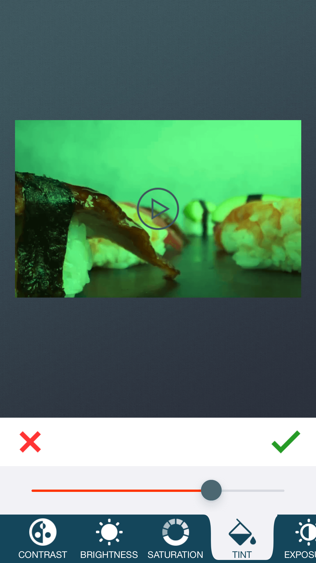 Change video tint with zShot video editor app.