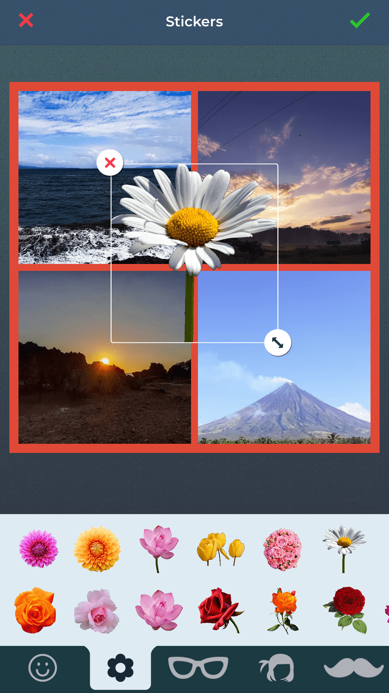 Insert beautiful stickers to collages using collage maker app.