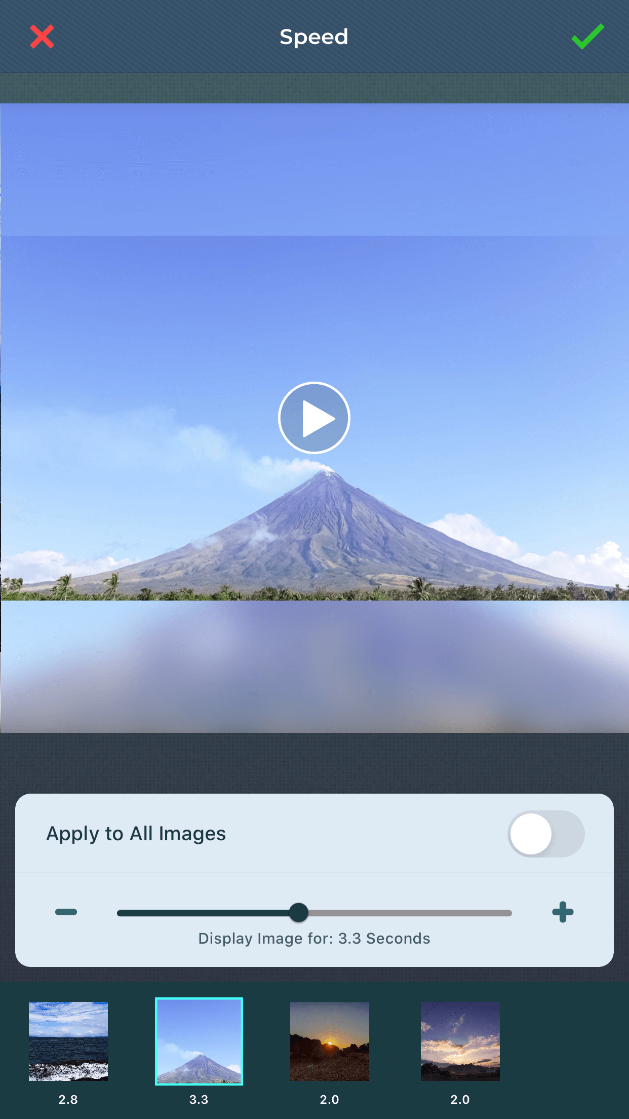 Change speed of slideshow using slideshow maker.