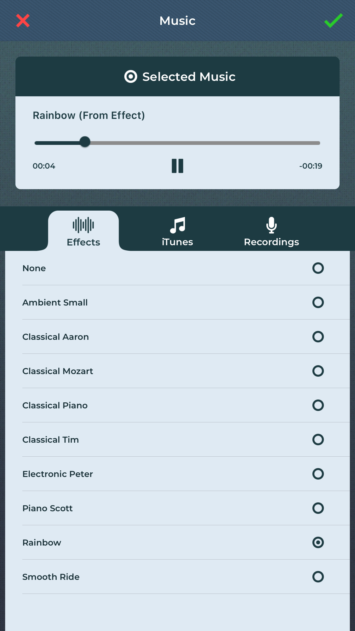Select music of choice with slideshow maker app.
