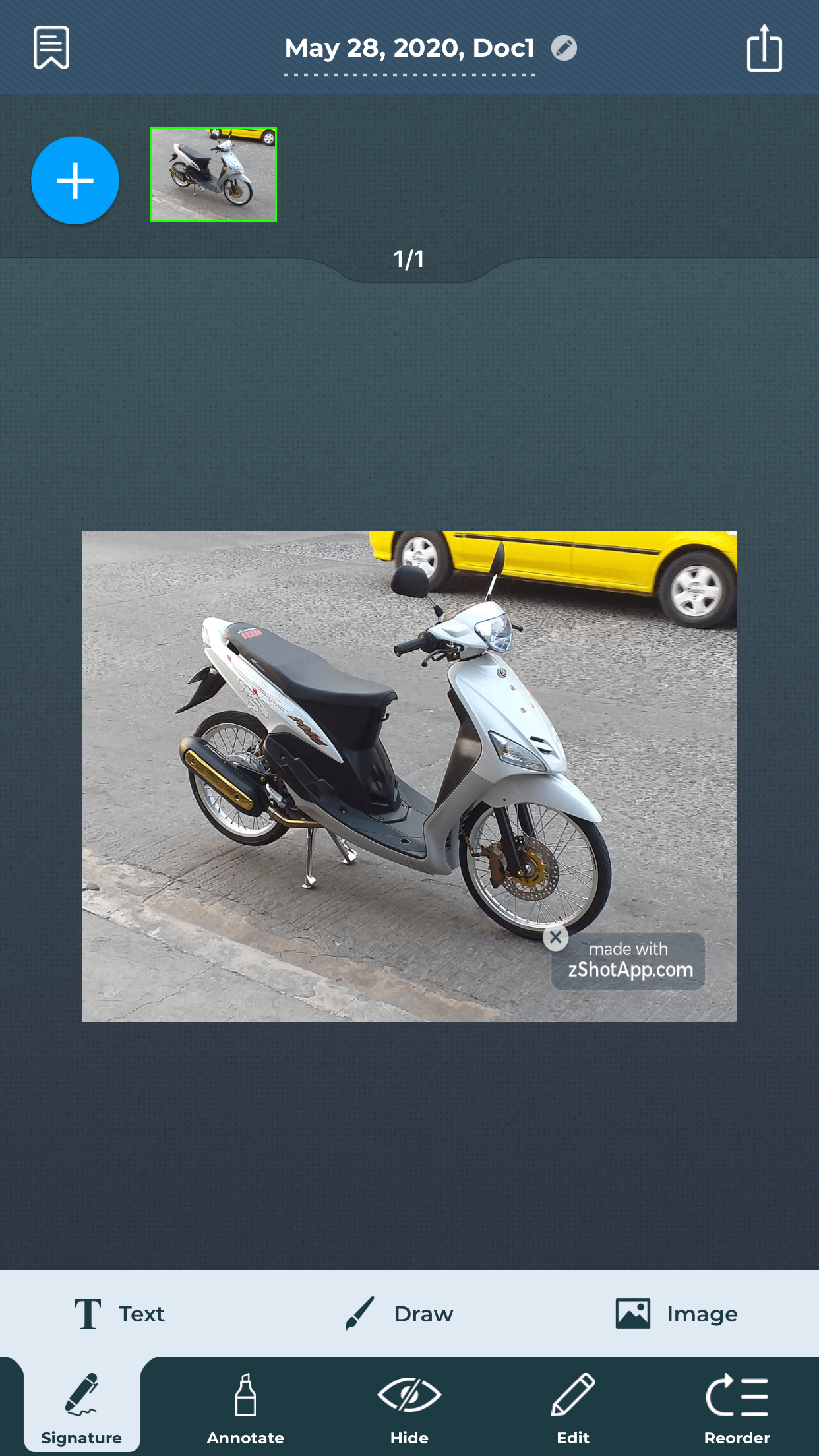 photo of a motorbike -  scan documents on iPhone