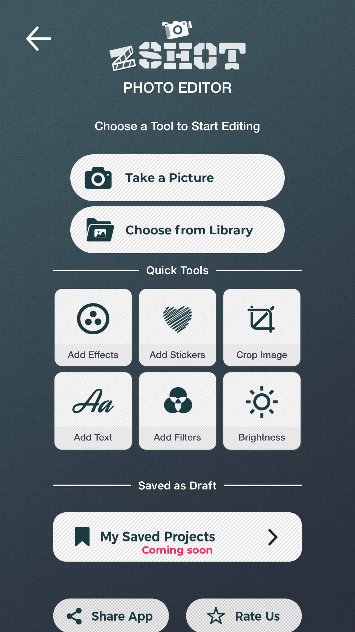 Edit photos with photo editor app of zShot.