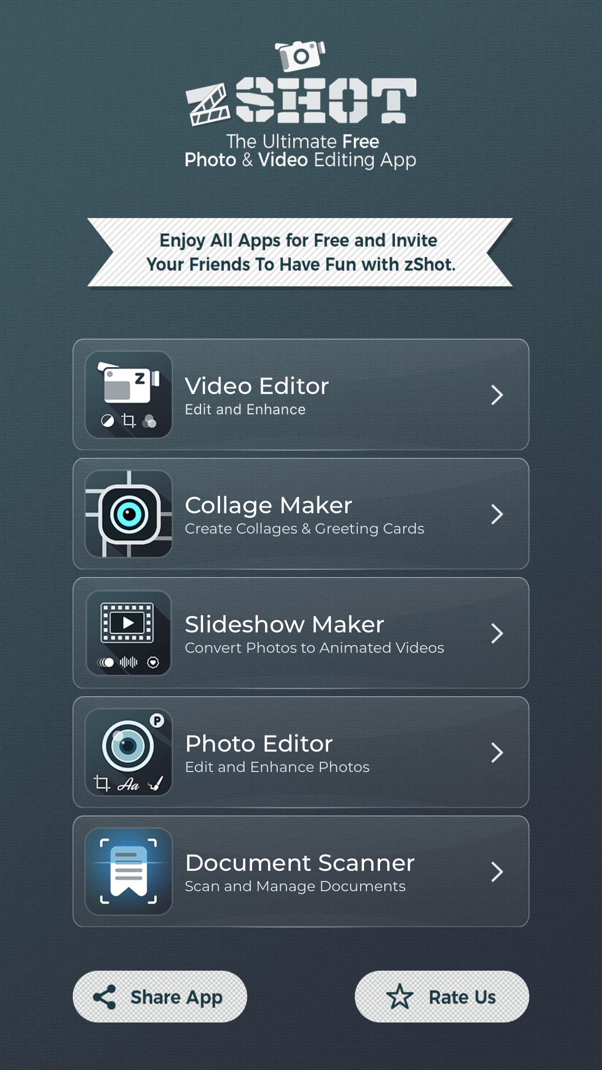 zShot is the ultimate photo and video editing app.