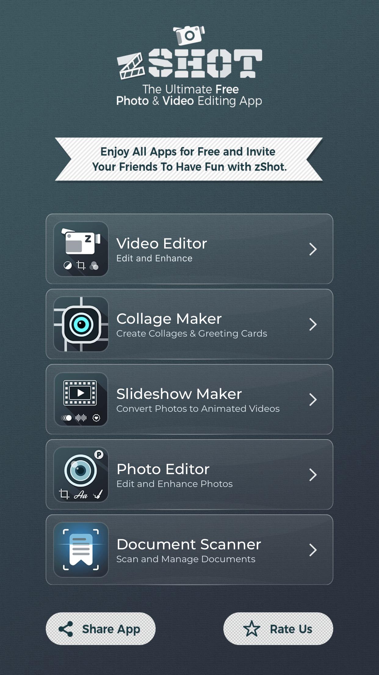zShot app is five amazing apps in one.
